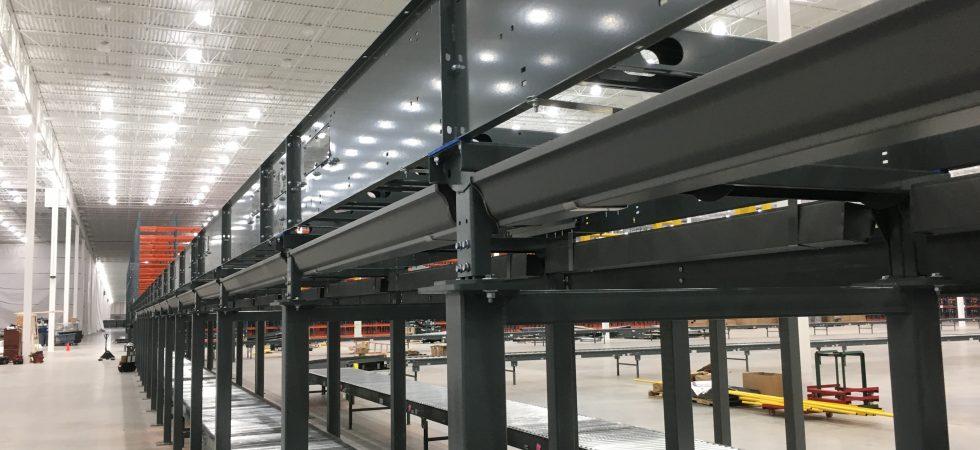 gutter guards direct drip pan for intelligrated package sortation conveyor