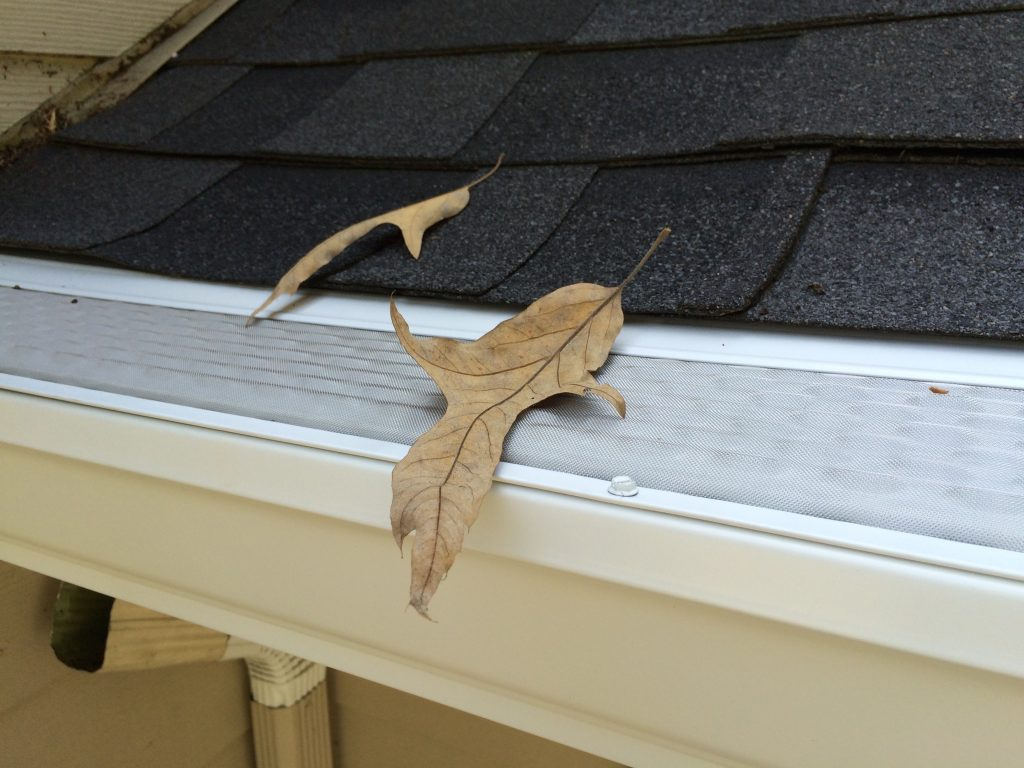 microscreen under shingle gutter guard with leaf on top of screen
